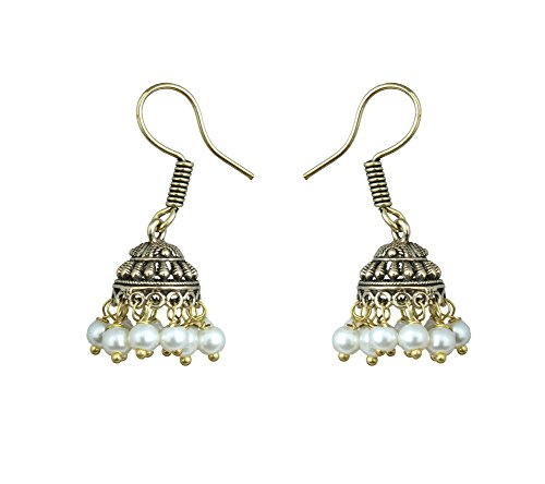 Waama Jewels Elegant Pair Of Fifteen Color Pearl Silver/Gold Plated Jhumki Earring For Party wear, Wedding & Winter Collection,South Indian Festival Pongal And makar sankranti Earrings (Gold_White)  available at amazon for Rs.89
