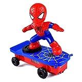 Reuvv Kinder Elektrisch Stunt Spielzeug Automatische Spider Man Rollover Stunt Auto Spielzeug - Blau