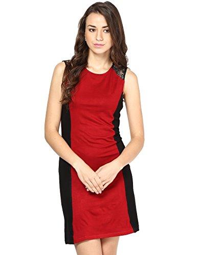 Besiva Women's Lace Wrap Dress (BDP125_Black_Medium)