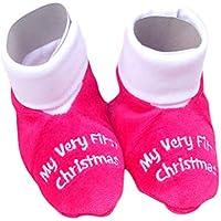 Toyvian Zapatos de algodón navideños para bebés Zapatos cálidos de Invierno Botas Infantiles para bebés recién Nacidos 0-12 Meses (Rosa)