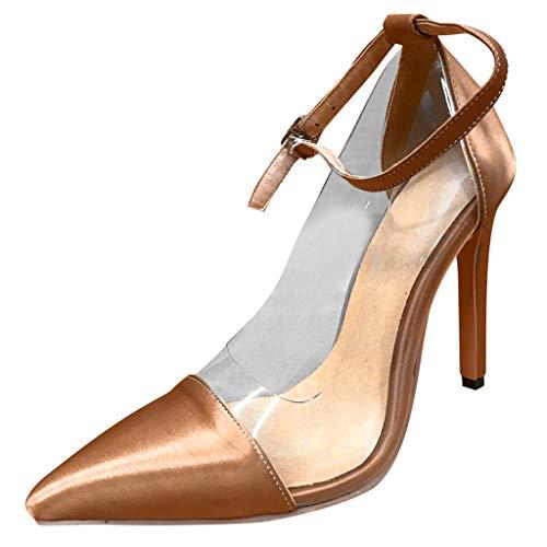 Markthym Womens Pointed Sandals Knöchelriemen High Heel Pumps Stilettos Sandalen Party Schuhe Außenhandel Glas Kunststoff Damenschuhe farblich passende Schnalle mit Spitzen super hochhackigen großen - Kunststoff-handwerk String