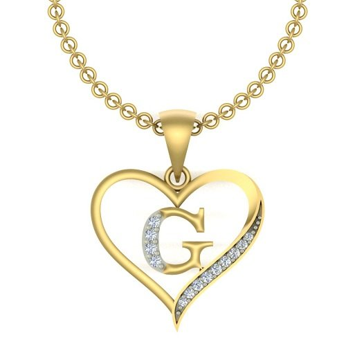 "Kanak Jewels Initial Letter ""G"" In Heart Shaped With Chain Gold Plated Cubic Zirconia Brass Pendant For Everyone"