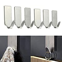 Use:SundriesMaterial:MetalFeature:Eco-FriendlyType:Hooks & Rails6PCS/12PCS Stainless Steel Self Adhesive Home Kitchen Wall Door Stainless Steel Hook Hanger Wall Coat Keys Bags Clothes HolderFeature100% brand new and high quality.Quantity: 6PCSMat...