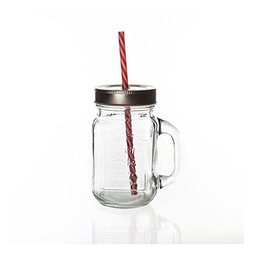 4-Bonbonglser-in-Form-einer-MilchflascheLimonadenflasche-mit-rot-weiem-Strohhalm-und-Holzkorb-Bierkrug--Vorratsglas-fr-Bonbons--silberfarbener-Schraubdeckel-luftdicht--Fr-Candy-Bars--Swarenlden--Einma