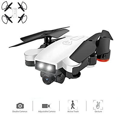 YMXLJJ Drone With Camera WIFI FPV Four-Axis Aircraft With 720P HD Dual Camera Live Video Foldable RTF 2.4Ghz 4 CH 6-Axis Gyro Automatic Follow/Gesture Photo RC Helicopter White by YMXLJJ