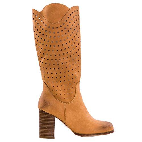 Toocool - Stivali donna scarpe texani traforati estivi tacco 9 Queen Helena nuovi QH16038 Camel