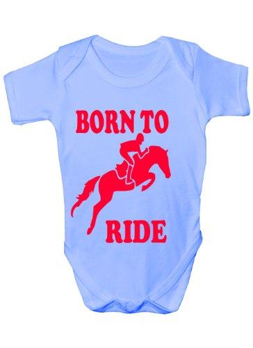 Born to Ride/équitation ~ Funny Body ~ Cadeau bébé Fille/garçon sans Manches pour bébés - Bleu -