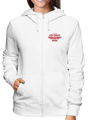 T-Shirtshock Sweatshirt Damen Hoodie Zip Weiss WTC0741 Proud air Force mom w pink Air Force Mom Sweatshirt