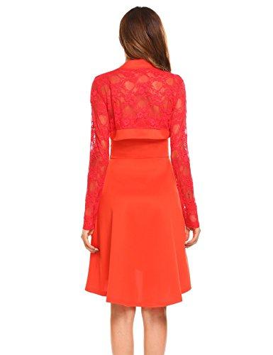 ACEVOG Damen Elegant Zweiteilig Spaghettiträger Kleid Spitze Langarm Bolero Asymmetrisch Kurz Abendkleider Partykleider Brautjungfernkleider Orange