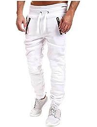 BOMOVO - Casual Harem Holgado Hip Hop Danza Pantalones De Chandal Hombre (Negro/Blanco/Gris)