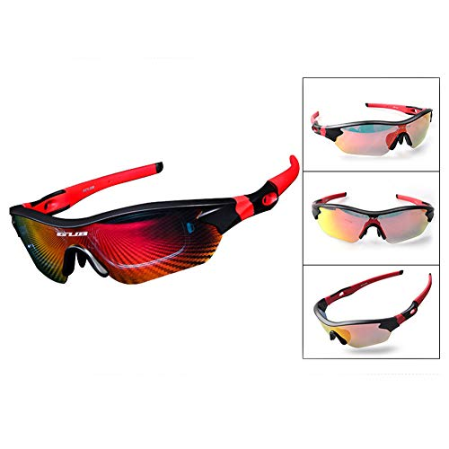 Sytauuan Sonnenbrille, 3 Farblinsen, UV-Schutz, zum Angeln, Sportbrille, schwarz/rot