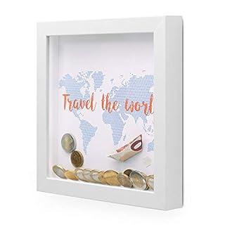 PHOTOLINI 3D Bilderrahmen-Spardose Weiss Geldgeschenk mit 3 austauschbaren Motiven für Reisen Geburtstag und Hochzeit