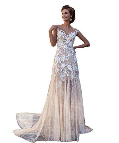 Madedress A-Linie Hochzeitskleid Ärmellos Spitze Appliziert Illusion Brautkleider Hochzeitskleid...