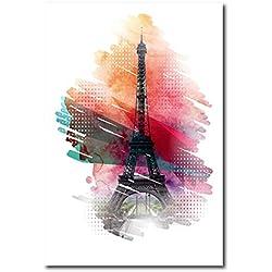 no brand Tour Eiffel Mur Art Décor Imprimer Et Affiche Aquarelle Paris Eiffel Towe Imprimer Mur Photos Toile Peinture Art Mur Décor-60x90cmsans Cadre