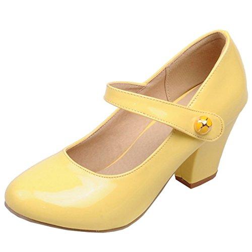 Atyche Damen Mary Jane High Heels Riemchen Pumps mit Klettverschluss und Blockabsatz Rockabilly Lack Schuhe