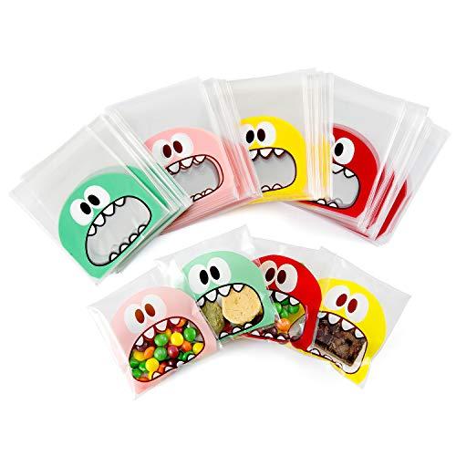 (Comius Tischkarten, 400 Pcs Monster selbstklebend Plastiktüten Bonbons, Tüten Plätzchen, Flachbeutel Süßigkeiten, Bodenbeutel Geschenktüte Kekstüten für Hochzeit Geburtstag Babyparty Kinderparty)