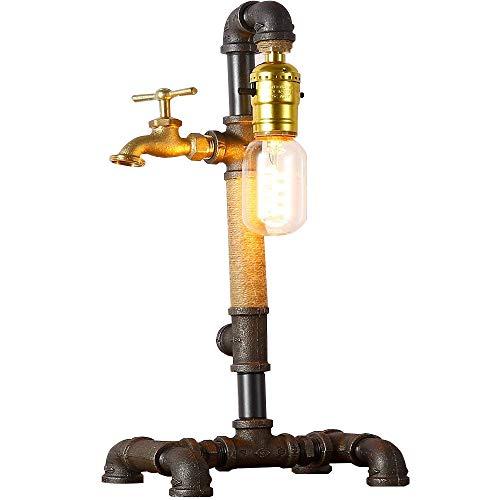 Injuicy Loft Rétro Edison Vintage Industriel Socle en Métal Conduite D'eau Lampes de Table Antique Fer Forgé Corde de Chanvre Lampe de Bureau Lampe à Poser pour Chevet Bar Salon Chambre Lampe
