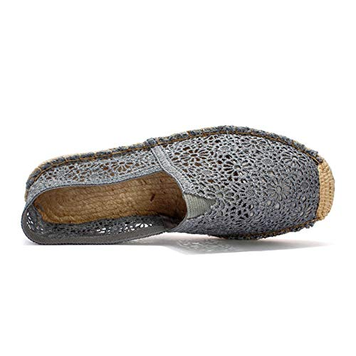 YOPAIYA Espadrilles Fischer Schuhe Sommer Nationalen Wind Gras Graue Spitze Hohlen Fischer Flache Schuhe Größe (35-40) EIN Pedal Faul Lässig Damenschuhe, 40 Army Navy Schuhe