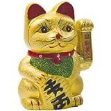NF - Gato chino de la suerte, 17,5 cm, color dorado