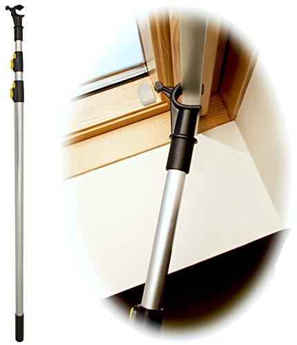 WinHux® Teleskop-Bedienungsstange, Teleskopstange, Fensterstange zum Öffnen und Schließen von VELUX® Dachfenster UND Jalousien 1,3 - 3,0 m SILBER