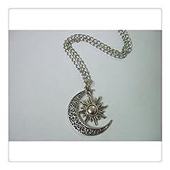 Idea Regalo - Argento antico Crescent Moon Sun ciondolo, collana mezzaluna luna e sole, 60CM maglione catena collana