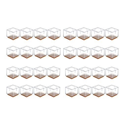 Mogoko 32 x Stuhlbeinkappen Silikon Stuhlbein Fußboden Schutz Möbel Tischabdeckung Furniture Tisch Hocker Bein Covers Pads Protectors für 30-35MM Quadratisch Beine (Transparent)