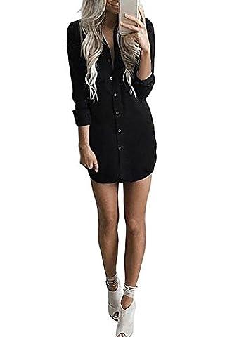 Yidarton Chemise Femme Longue à Manches Longues Boutonner Casual Cardigan Chemisier Robe Top Tunique Blouse Long (S, Noir)