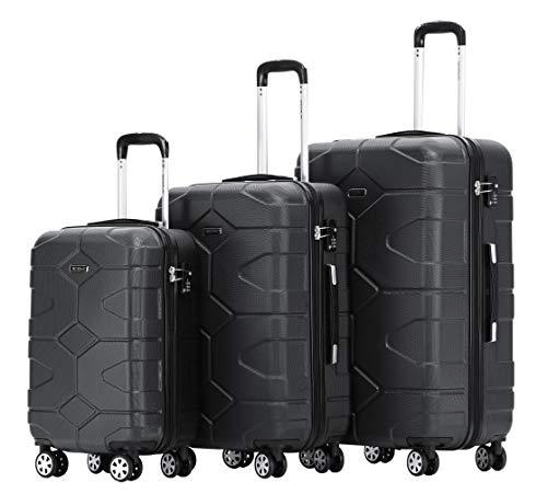 BEIBYE - TSA Schloß 2035 Hartschale Reisekoffer Koffer Handgepäck Trolley (Schwarz, Set) - Set Tsa-schloss