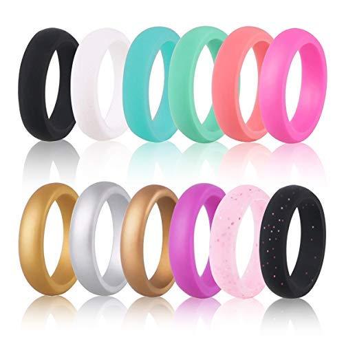 Hootracker fede nuziale in silicone, confezione da 12 anelli economico fedi nnuziali in silicone durevole comodo antibatterico, graffiare la anello originale 17,3 millimetri, larghezza 5,7 mm