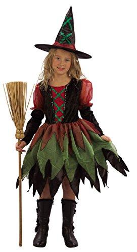 Freche Halloween Kostüm - KULTFAKTOR GmbH freche Hexe Halloween-Kostüm für Mädchen schwarz-rot-grün 134/140 (10-12 Jahre)