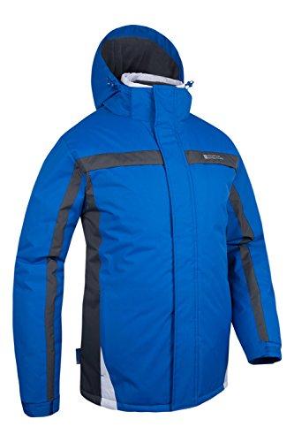 Mountain Warehouse Schneefeste Fleece-gefütterte Dusk Herren Skijacke mit Kapuze Ski Snowboard Blau X-Large