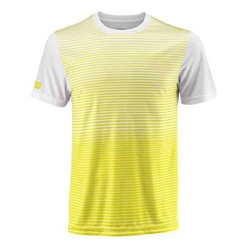 Wilson Herren Tennis-Kurzarmshirt, M Team Striped Crew, Polyester, Gelb/Weiß, Größe: 2XL, WRA769705 - Crew-tennis Shirt