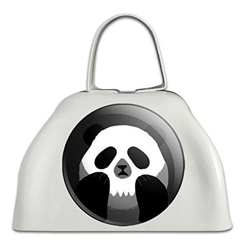 Panda Totenkopf Optische Illusion Spooky weiß Metall Cowbell Kuhglocke ()