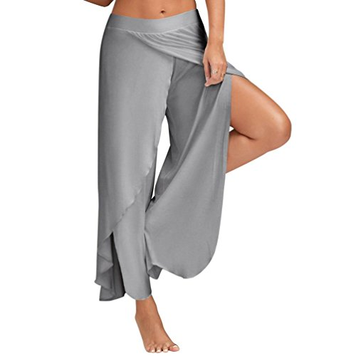 Yogogo Femmes Sexy Large Jambe Jupe Stretch Pantalon VêTements Cheville-Longueur Loose Ouvrir Fourche Taille Haute Yoga Pantalon ÉTé Gris