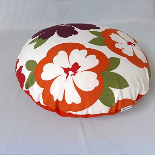 Kissen Sofakissen Zierkissen rund 70er Blume orange aubergine grün weiß, 60 cm, Rückseite orange von wagnerstrasse