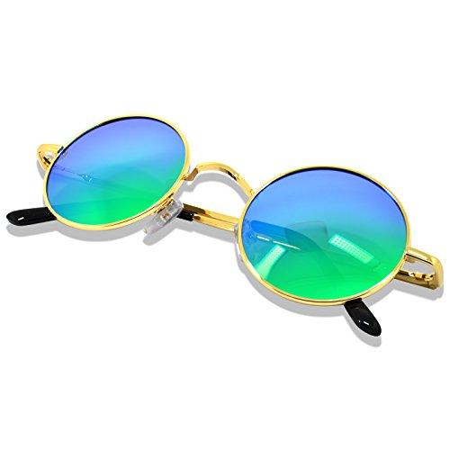 WHCREAT Uralt Retro Unisex Rund Polarisierte Sonnenbrille Federscharnier Metall Rahmen UV 400 Schutz für Männer Frauen - Gold Rahmen Grün Linse
