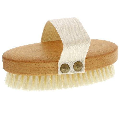 Weiche Kosmetex Badebürste, Massagebürste, Buchenholz mit Gurt, Trockenmassage