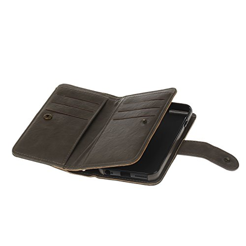 Voguecase Pour Apple iPhone 6/6s 4,7 Coque,[Zipper Wallet]Etui pratique et original en cuir synthétique, avec fermeture à aimant, housse de protection interne silicon antichoc de qualité, rabat porte  Portefeuilles multifonctions-Gris
