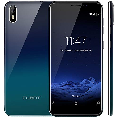 "CUBOT J5 (2019) Android 9.0 Dual SIM Smartphone ohne Vertrag, 5.5"" (18:9)Touch Display, 2GB Ram+16GB interner Speicher, Quad-Core, 8MP Hauptkamera / 5MP Frontkamera und Face-Unlock Funktion (Gradient)"
