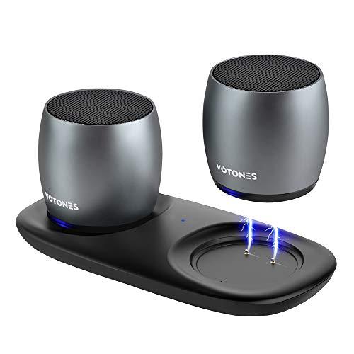 Tragbarer Bluetooth Lautspreche, Klein Wahr Kabellos Stereo Lautsprecher mit HD eingefasstem Schall und verbessertem Bass,Dual Mini Tasche Lautsprecher für Hauspartys,Büro und Travel -Zwei-Pack.