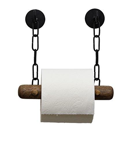 Toilettenpapierhalter ohne Bohren | edles Mango Holz | schwarz/weiß | DEKAZIA (schwarz)