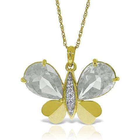 QP gioiellieri naturale topazio bianco e diamanti Ciondolo in 9ct oro, 11ct–5495y