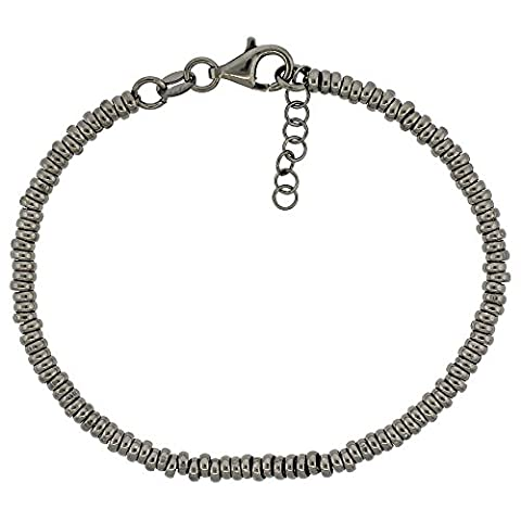 Revoni Sterling Silber Donut Loch 7in. Bead Armband w/1/2in. Verlängerung in Schwarz Ruthenium Finish, 1/8In. (3mm) (Fashion Stretchable Armband)