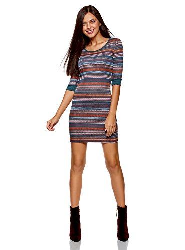 oodji Ultra Damen Jacquard-Kleid mit Geometrischem Muster, Mehrfarbig, DE 34 / EU 36 / XS Jacquard-kleid