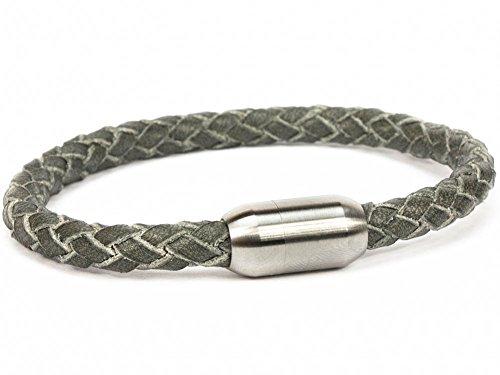 SIMARU Lederarmband für Herren & Damen - geflochtenes 6mm Armband aus pflanzlich gegerbtem Leder mit Edelstahl Magnet Verschluss - Allergiefreundlich & Chromfrei (grau (Größe M))