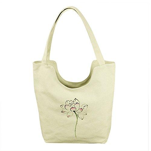 mixinni® Damen Umhängetasche Handgemalte Schultertasche Segeltuch Schulterbeutel Handtasche Tasche Im chinesischen Stil Taschen Sommer Crossbody mit Blumen gezeichnet Design Lotos