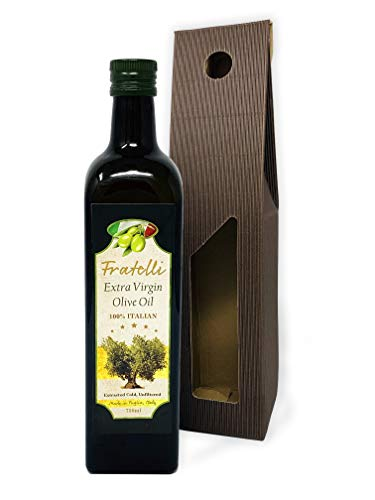 Extra Virgin Olive Oil Cold Pressed – Fratelli First Pressed 100% Pugliese, Best Italian Pure Olive Oils – Dark Glass Bottle & Drizzler – Unfiltered & Certified – Great for Dressings & Cooking