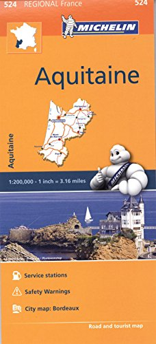 Aquitaine Michelin Regional Map (Michelin Regional Maps) 524 (Michelin Regional France) por Michelin