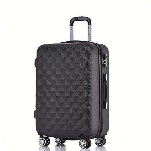 BEIBYE Zwillingsrollen 2066 Hartschale Trolley Koffer Reisekoffer Gepäck M-L-XL-Set (Schwarz, XL)