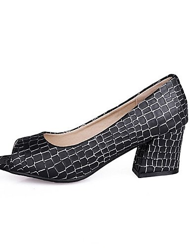 GS~LY Damen-High Heels-Lässig-PU-Blockabsatz-Plateau-Schwarz / Blau / Rosa / Weiß black-us8.5 / eu39 / uk6.5 / cn40